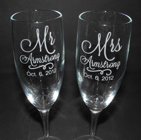 Handmade Chagne Flutes - personalized wedding chagne flutes custom engraved