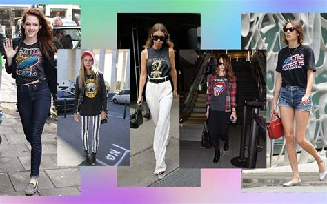 Teet Shirtkaos Wanita Rockstar sontek gaya 5 selebritas yang gemar memakai t shirt band
