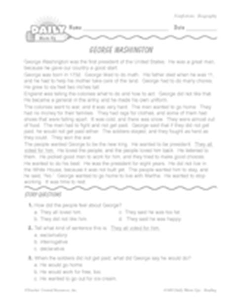 george washington biography with questions george washington biography us history reading warm up