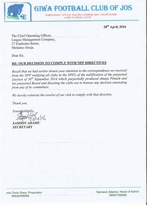Response Letter To Non Compliance Lmc Letter To Giwa On The Interim Court Order
