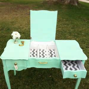 mint desk mint green and chevron desk vanity junktiques furniture