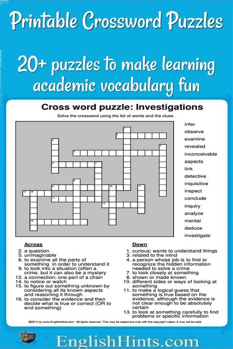 easy crossword puzzles with hints 20 printable crossword puzzles make learning vocabulary fun