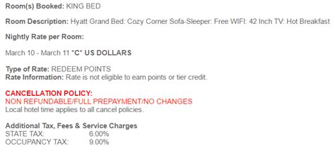 cancelling a non refundable hotel room hyatt s award cancellation and no show policy tagging