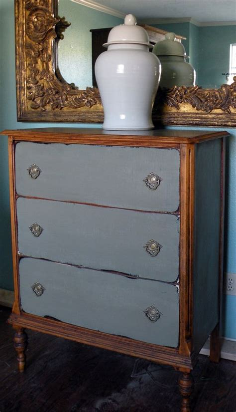 grey stained wood dresser great combo of stain and chalk paint nice pulls also