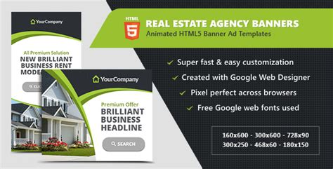 Real Estate Agency Banners Html5 Ad Templates By Infiniweb Codecanyon Real Estate Banners Template