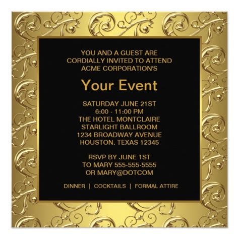Event Invitation Card Template Psd by Gold And Black Corporate Event Card Zazzle