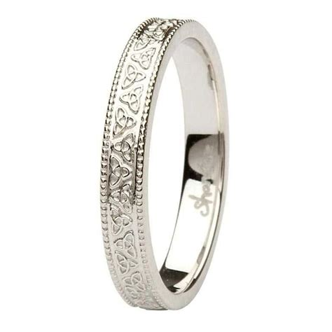celtic knot 14k white gold wedding ring