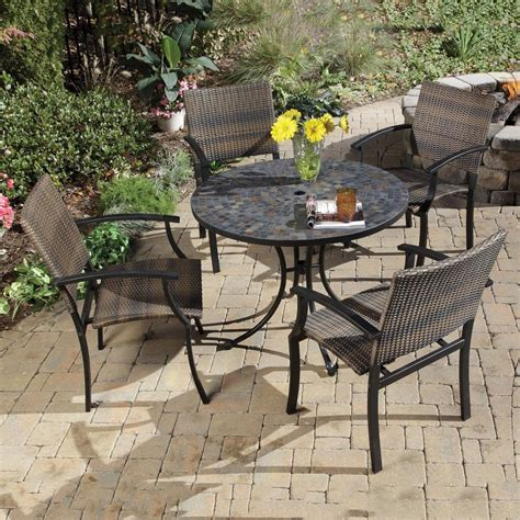 Outdoor Table Ls For Patio Shop Home Styles Harbor 5 Slate Patio Dining Set At Lowes