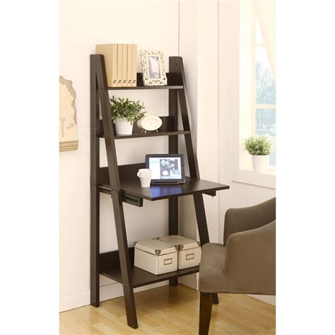 dark brown wooden ladder shelf computer desk leaning on