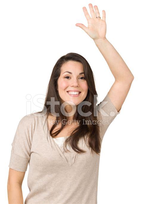 imagenes graciosas levantando la mano excitada mujer levantando la mano fotograf 237 as de stock