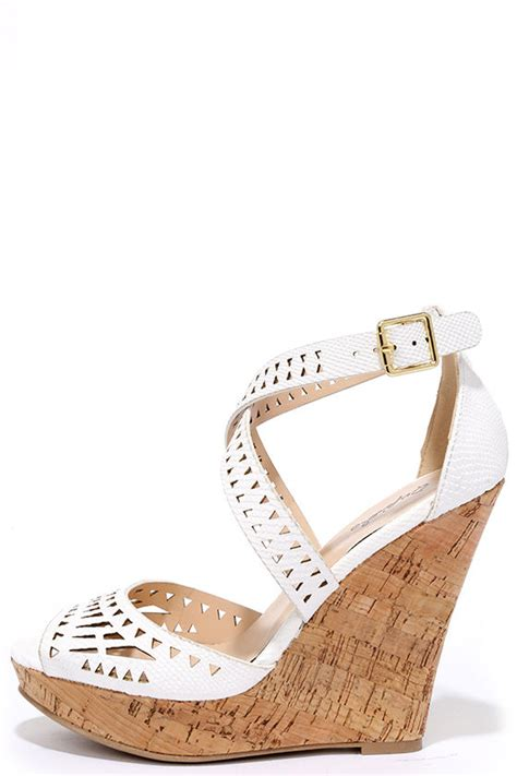 white wedges laser cut wedges wedge sandals 32 00