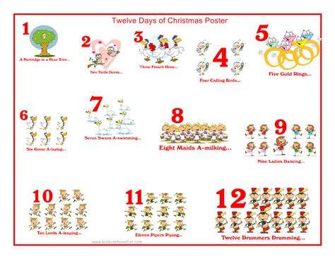 12 Days Of Christmas Hoyland Common Primary School Blogsite 12 Days Of Printable Templates