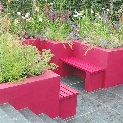 Pink Garden Planters colourful contemporary garden contemporary garden ideas