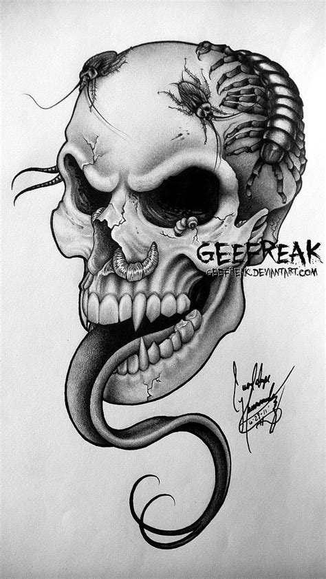 skull tattoo design upgrade by geefreak on deviantart