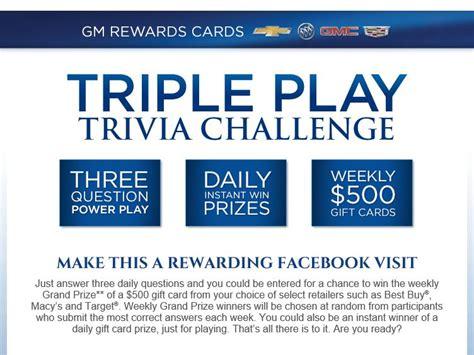 Instant Win Facebook - the gm rewards cards facebook trivia instant win contest