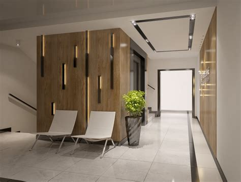 entrance area of apartments building interior design 3d model cgstudio