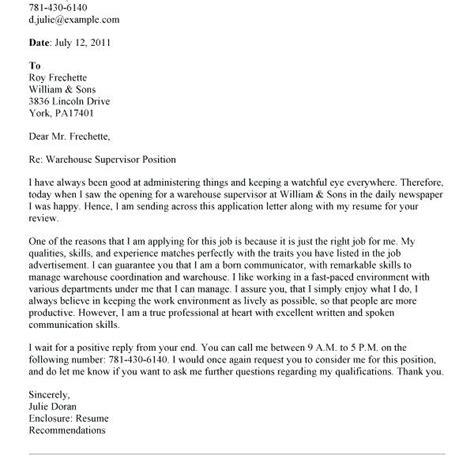 warehouse supervisor cover letter exle cover letter exles warehouse supervisor tomyumtumweb