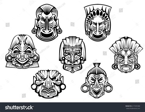 ancient tribal tattoo royalty free religious masks in ancient tribal style