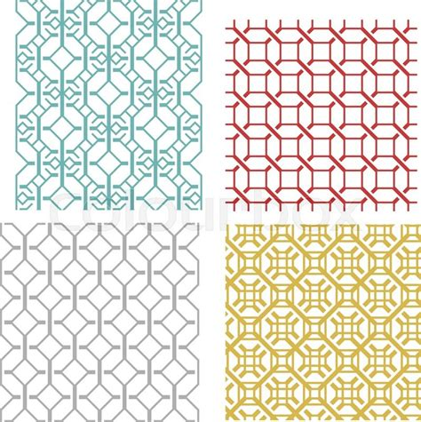 korean pattern vector set of geometric seamless weave line pattern and texture