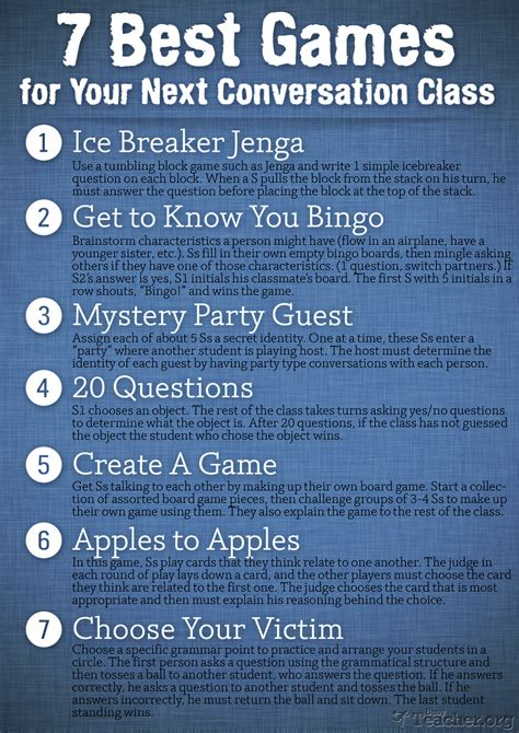 themes english conversation 7 best games for your next conversation class poster