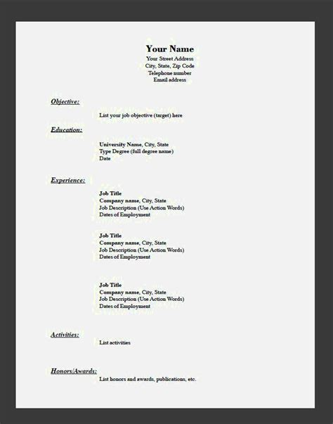 resume easy fill in blank templates free template inside