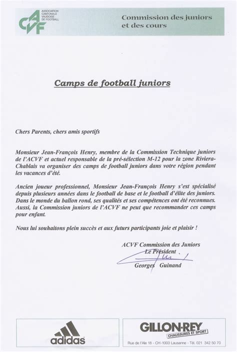 Lettre De Recommandation Football Stagesfootsoccer C De Football