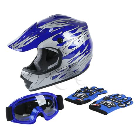 blue motocross helmet youth kids blue flame dirt bike atv motocross off road