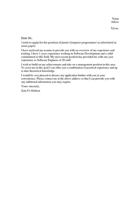 Cover Letter For Programmer by Sle Cover Letter Programmer Technical Sales Support