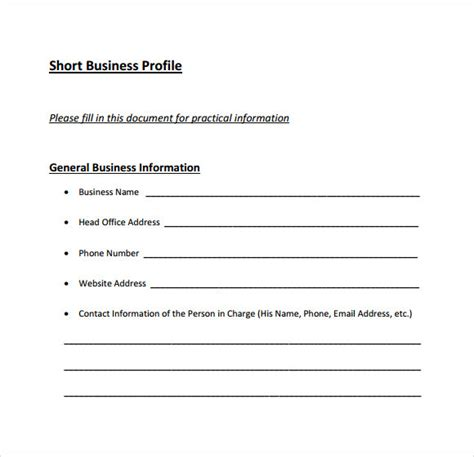 business profile template free business profile template 7 documents in pdf