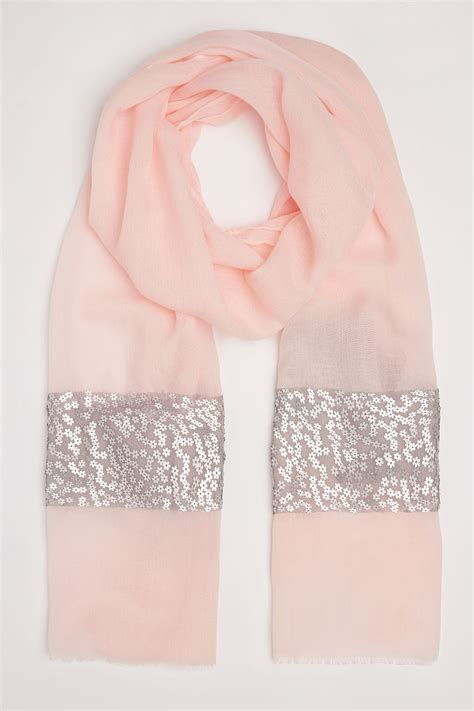 Address Finder From Name And Town Pale Pink Scarf With Silver Flower Sequins