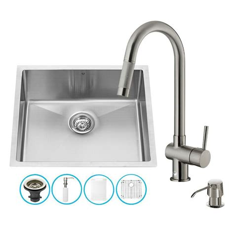 All In One Kitchen Sink Vigo Stainless Steel All In One Undermount Kitchen Sink And Faucet Set 23 Inch The Home Depot