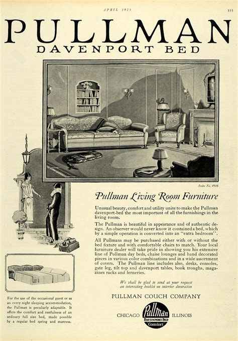 pullman couch company 1925 ad pullman davenport bed living room furniture suite