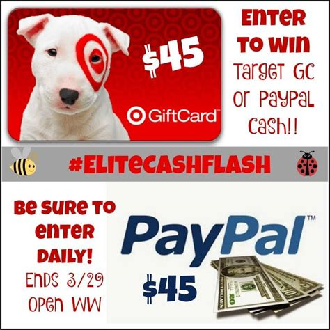 Convert Target Gift Card To Paypal - weekend cash flash giveaway win 45 paypal or target gift card it s free at last