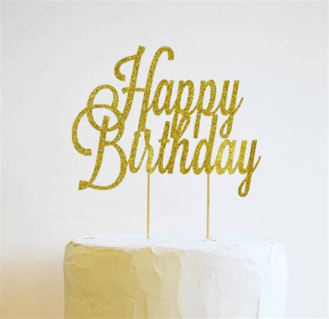 Topper Happy Birthday J happy birthday glitter cake topper by may contain glitter