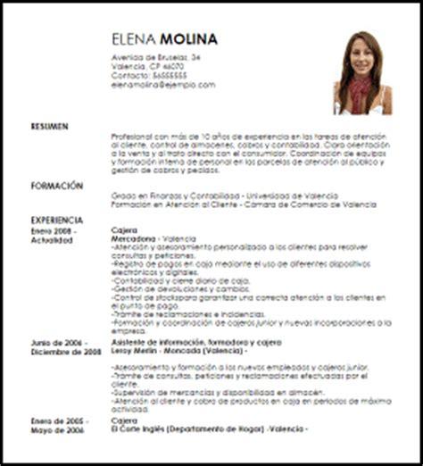 Modelo Curriculum Corte Ingles Modelo Curriculum Vitae Cajero A A Tiempo Parcial Livecareer