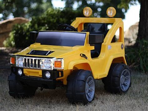 power wheels jeep yellow 12v rc battery power kids ride on hummer jeep car w big
