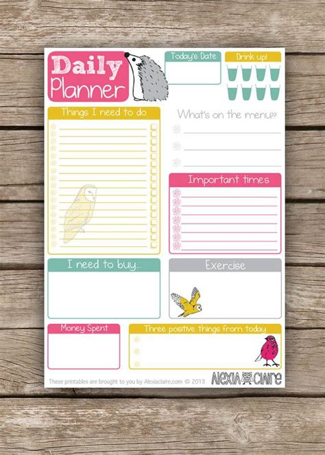 printable planners etsy daily planner cute hand drawn animal illustrated to do
