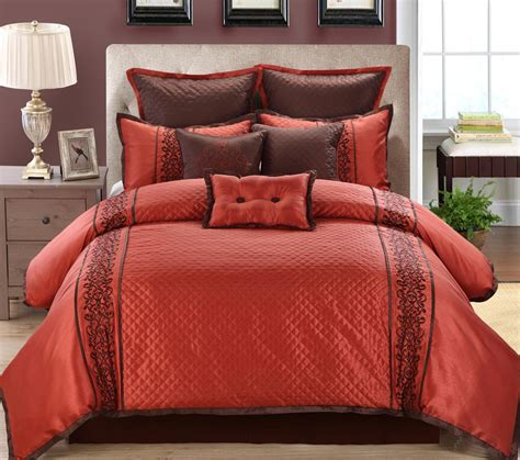 9 piece grenoble red chocolate comforter set