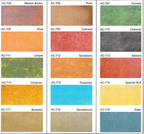 concrete acid stain color chart acid stain concrete colors