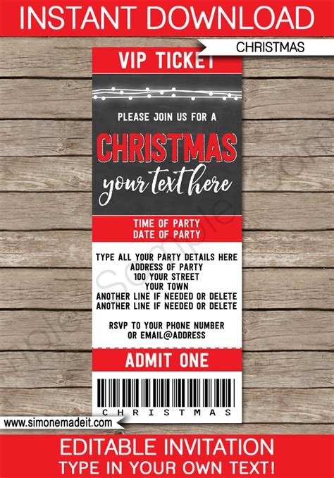 christmas party ticket template chalkboard ticket invitations template editable template