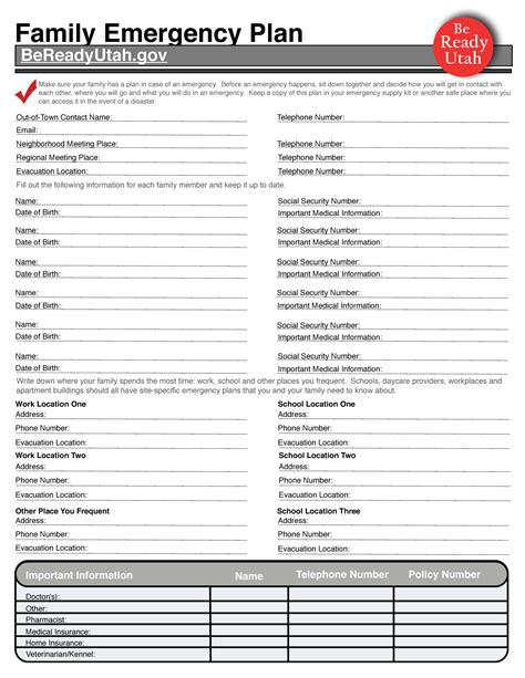 emergency preparedness plan template family emergency plan ivins city