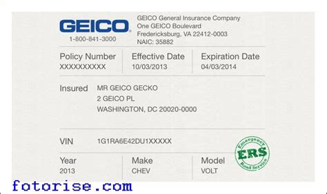 Temporary Auto Insurance Card Template   fotorise.com