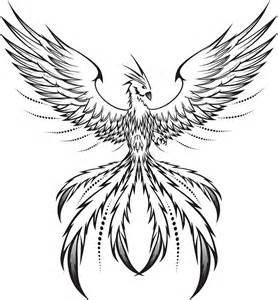 Black And White Phoenix Drawing Sketch Coloring Page sketch template