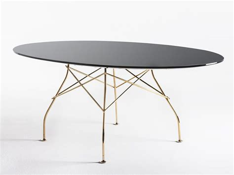 Buy The Kartell Glossy Oval Dining Table With Glass Top At