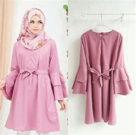 Blouse Kombinasi Lengan Terompet model baju atasan blouse muslim wanita tunik lengan