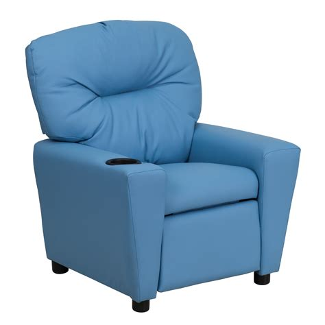 Light Blue Vinyl Kids Recliner Cup Holder Furniture Chair