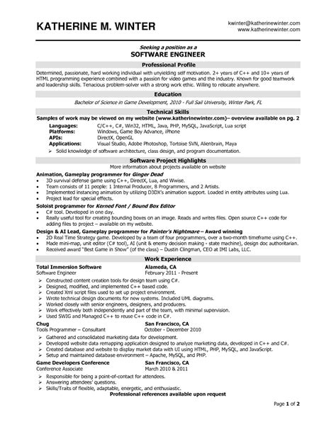 Resume Of Experienced Software Engineer In Testing Software Engineer Resume Sles Sle Resumes