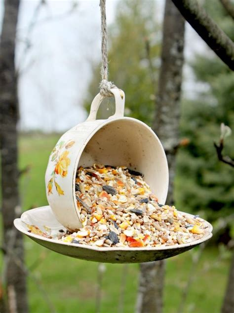 diy art craft projects via tea cup bird feeder