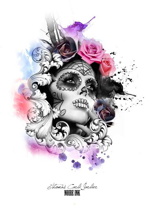 watercolor sugar skull tattoo by carli jarlier at ink pinteres
