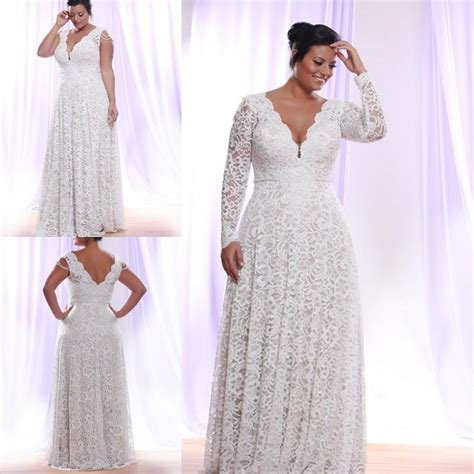 Plus Size White Lace Evening Dress 2016 Long Sleeves Deep V Neck Floor Length Mother Formal Prom